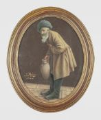 UNKNOWN ARTIST - Afghan man with a jug Signed and dated in Persian 'Mehdi Naeb [...]