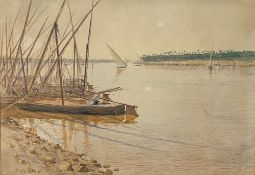 ALPHONSE BIRCK (1859-1942) - Feluccas on the Nile. Cairo Signed, inscribed and dated [...]