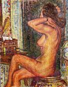 FRENCH SCHOOL, XX CENTURY - Seated nude Illegibly signed (lower right) Oil on [...]