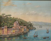 UNKNOWN ARTIST, LATE 19TH - EARLY 20TH CENTURY - View of Portofino Gouache on [...]