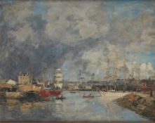 EUGÈNE BOUDIN (HONFLEUR 1824 - DEAUVILLE 1898) - View on the port of Dieppe Oil on [...]