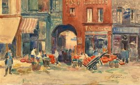 ELIE ANATOLE PAVIL (1873-1948) - Commercial street, Paris Signed (lower right) [...]