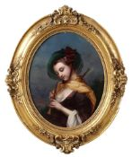 CONTINENTAL SCHOOL, EARLY 19TH CENTURY - Lady with an oboe Oil on copper 38 x 30,5 cm -