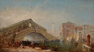 EUROPEAN SCHOOL, XIX CENTURY - Grand Canal, Rialto Bridge and rich figural staffage [...]