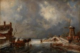 CHARLES HENRI JOSEPH LEICKERT (1816 - 1907) - Ice view with figures and a [...]