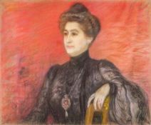 LUCIEN LÉVY-DHURMER (1865-1953) - Portrait of a Noble lady Pastel on board laid on [...]