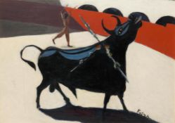 LOUIS LEON RIBAK (1902-1972) - Bullfighting Scene Signed 'Ribak' (lower [...]