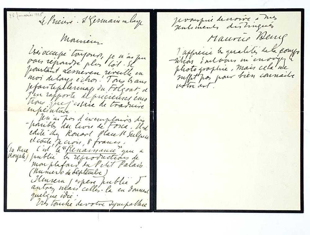 MAURICE DENIS (1870-1943)Autograph letter signed «Maurice Denis» to the painter Jacques Jullien,