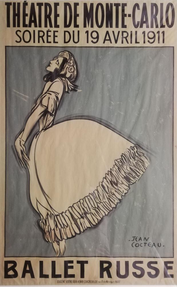 JEAN COCTEAU (1889-1963) THEATRE DE MONTE-CARLO, Soirée du 19 avril 1911 BALLET RUSSETamara