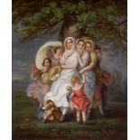 FRENCH SCHOOL, 19th CENTURY Taking shelter under a treeoil on canvas, with golden frame 68 x 58 cm