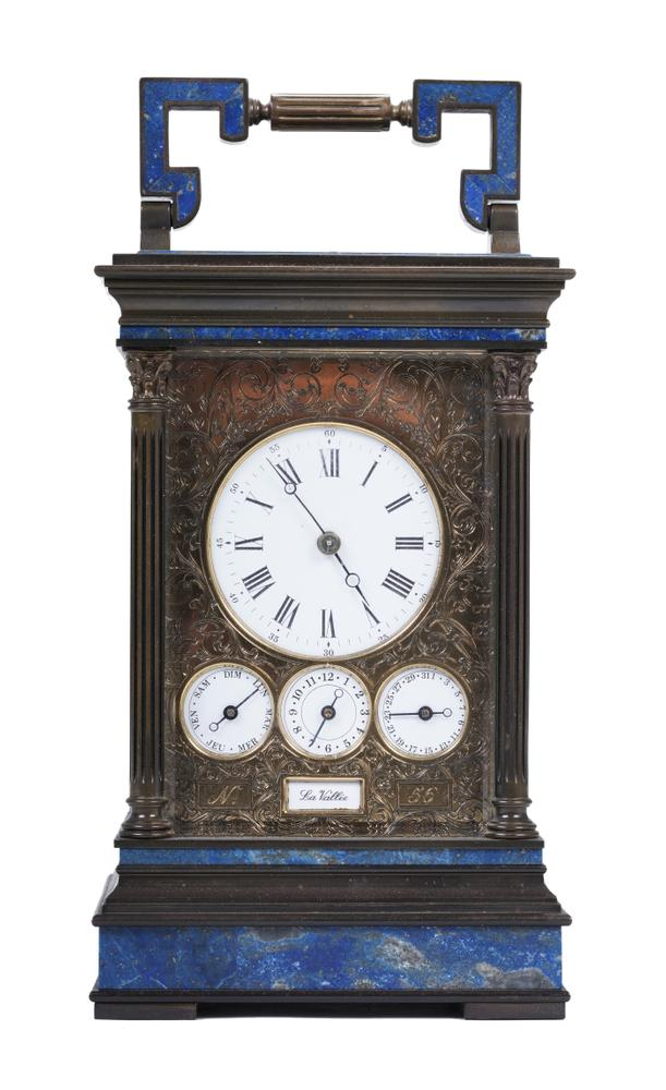 CAGE-SHAPED OFFICER'S CLOCK IN GILDED BRONZE AND LAPIS-LAZULI, LA VALLÉE Switzerland, XX