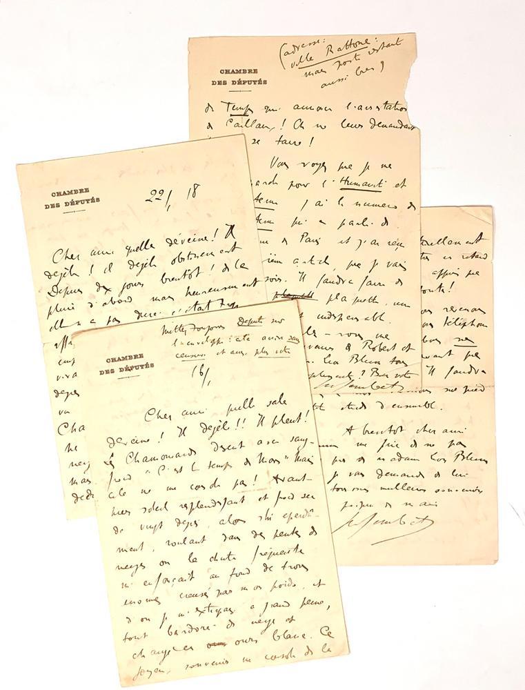 MARCEL SEMBAT (1862-1922)2 autograph letters Signed to Léon Blum. Chamonix, 1918. Socialist deputy
