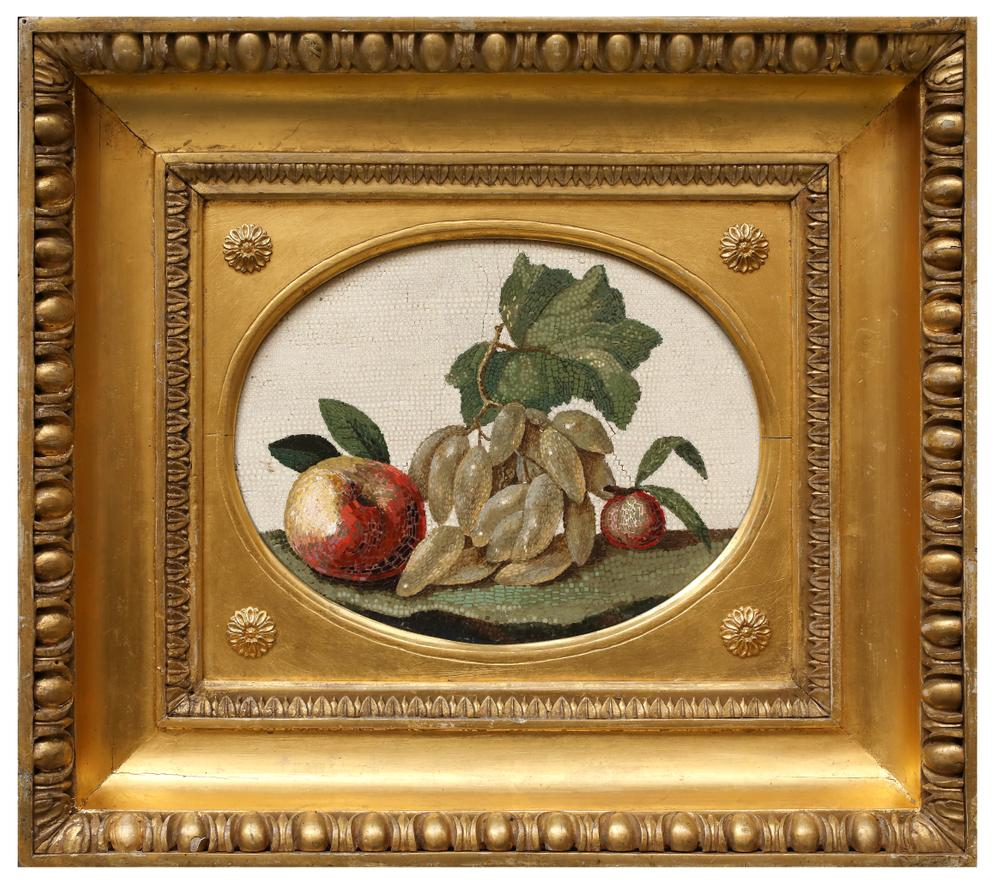 A FINE ROMAN MICRO-MOSAIC PLAQUE DEPICTING AN APPLE, GRAPES AND A PEACHItaly, Rome, 18th century