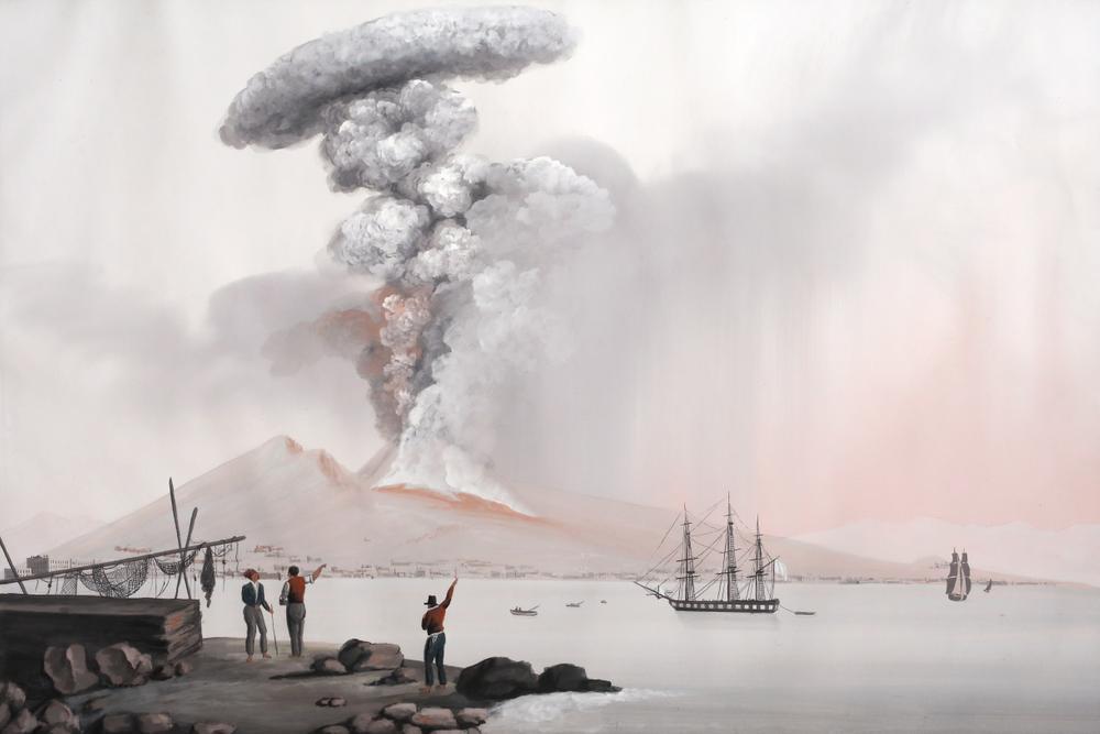 NEAPOLITAN SCHOOL, 19th CENTURY Eruption of Vesuviusinscribed and dated 'Eruzione a cenere de' 22.