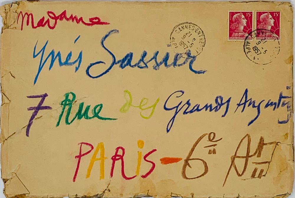 PABLO PICASSO (1881-1973)Autograph envelope to Mrs Inès SASSIER, with note on the back. With
