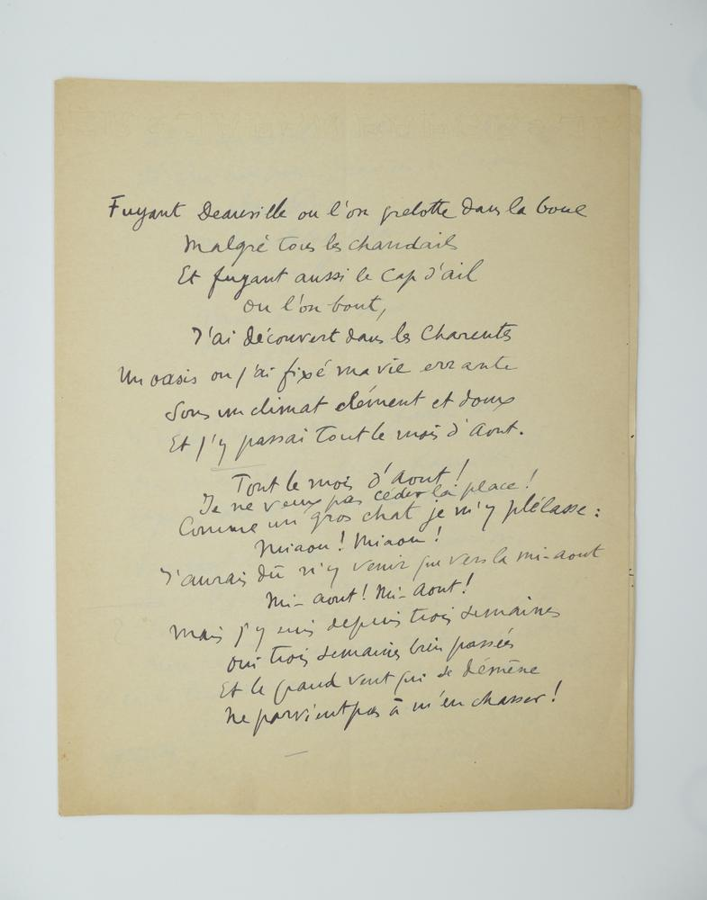 SACHA GUITRY (1885-1957)Autograph poem, in French. 10 pp. folio, erasures and corrections.