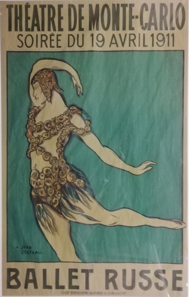 JEAN COCTEAU (1889-1963) THEATRE DE MONTE-CARLO, Soirée du 19 avril 1911 BALLET RUSSEVaslav Nijinsky