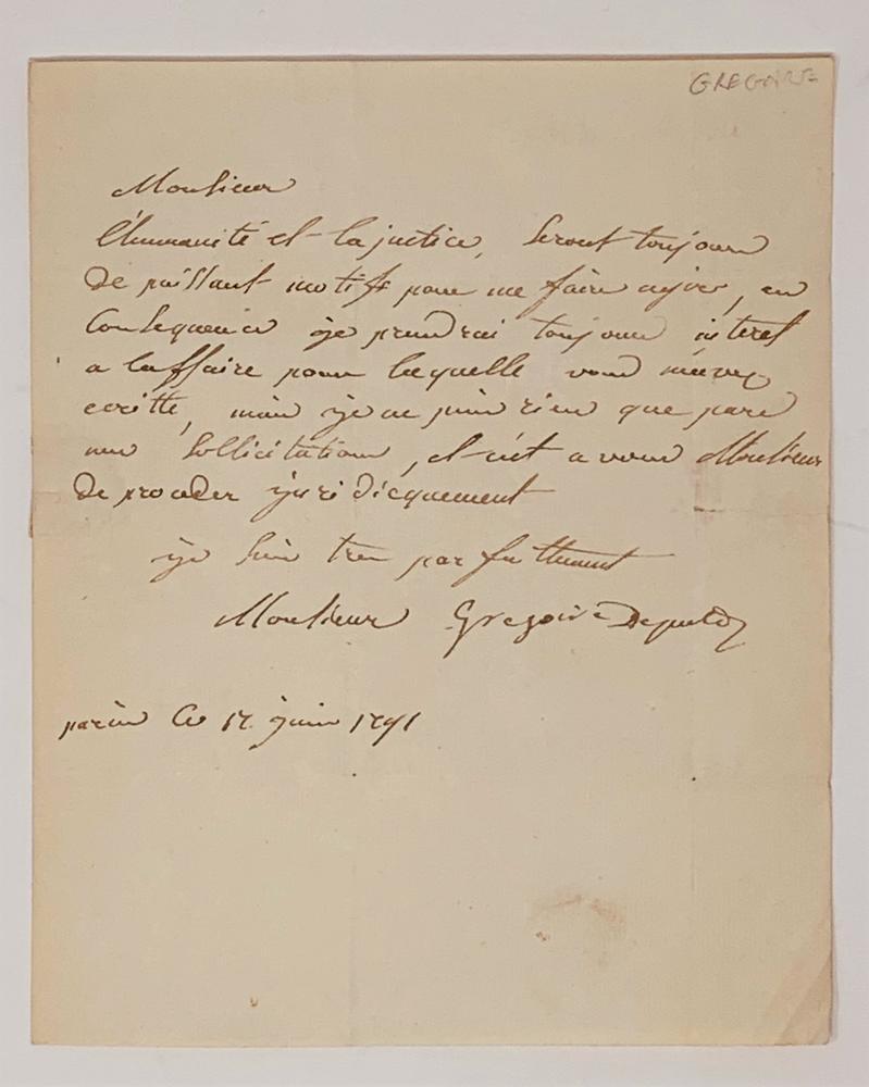 HENRI JEAN-BAPTISTE GRÉGOIRE (KNOWN AS ABBÉ GRÉGOIRE) (1750-1831)Autograph letter signed to Mr