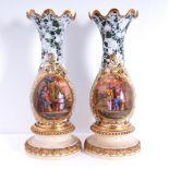 PAIR OF 'CHINOISERIE' PORCELAIN BALUSTER VASES, 20TH CENTURYPorcelain faux marble Baluster vases