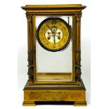 LOUIS XVI STYLE CLOCK IN GILT BRONZELouis XVI style, end of 19th century Clock with mercury pendulum