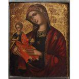 THE VENETIAN-DALMATIAN SCHOOL, 16th CENTURY Madonna and ChildTempera on panel 47 x 37 cm Provenance: