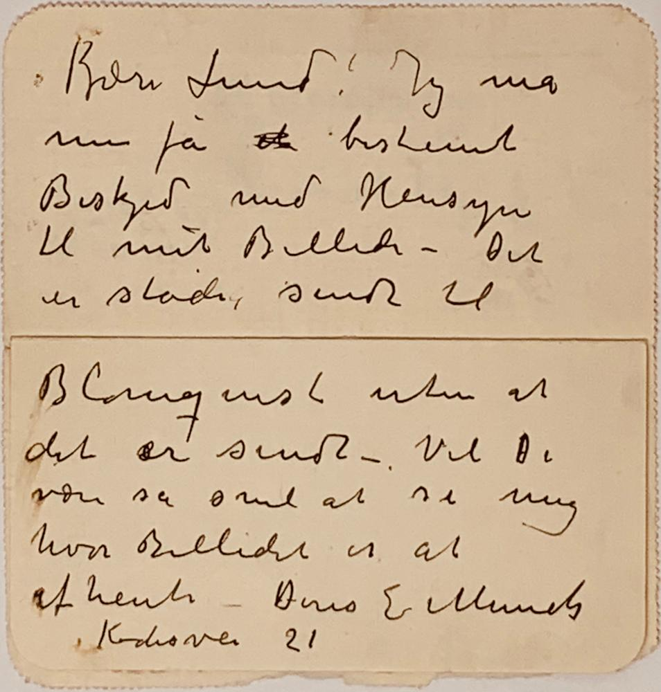 EDVARD MUNCH (1863-1944)Autograph letter with signature to his friend, the Norwegian painter
