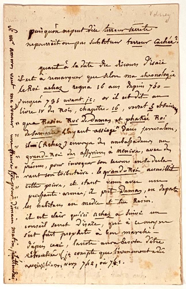 CONSTANTIN-FRANÇOIS CHASSEBŒUF DE LA GIRAUDAIS VOLNEY (COUNT OF VOLNEY) (1757-1820)Autograph