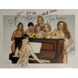 """CALENDAR GIRLS - PIN-UP LADIES AT THE PIANOSigned photograph of seven of the actresses in """""""