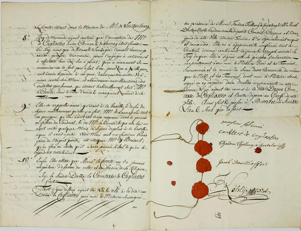 """GIUSEPPE BALSAMO, KNOWN AS ALESSANDRO, COUNT OF CAGLIOSTRO (1743-1795)Parchment signed """"Io - Image 2 of 3"""