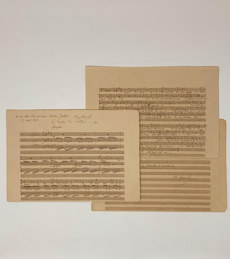 """CHARLES GOUNOD (1818-1893)Signed autograph musical manuscript entitled """"Spring Song"""". 9 systems of 3"""
