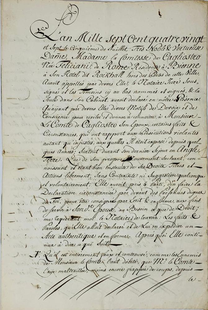 """GIUSEPPE BALSAMO, KNOWN AS ALESSANDRO, COUNT OF CAGLIOSTRO (1743-1795)Parchment signed """"Io"""