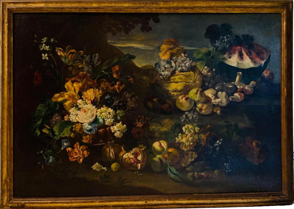 ITALIAN SCHOOL, 19th CENTURY Still life with flowers, fruits, mushrooms, watermelon and grapesoil on - Image 2 of 3