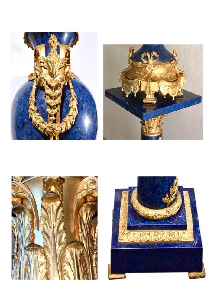 PAIR OF MAJESTIC ROYAL BLUE LAPIS LAZULI PEDESTALS AND VASES, EARLY XX CENTURY NEOCLASSICAL - Image 7 of 7