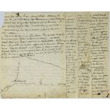 ALEXANDRE DUMAS, FATHER (1802-1870)Fragment of autograph manuscript, in French, with original
