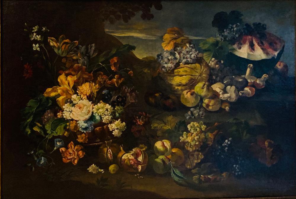 ITALIAN SCHOOL, 19th CENTURY Still life with flowers, fruits, mushrooms, watermelon and grapesoil on