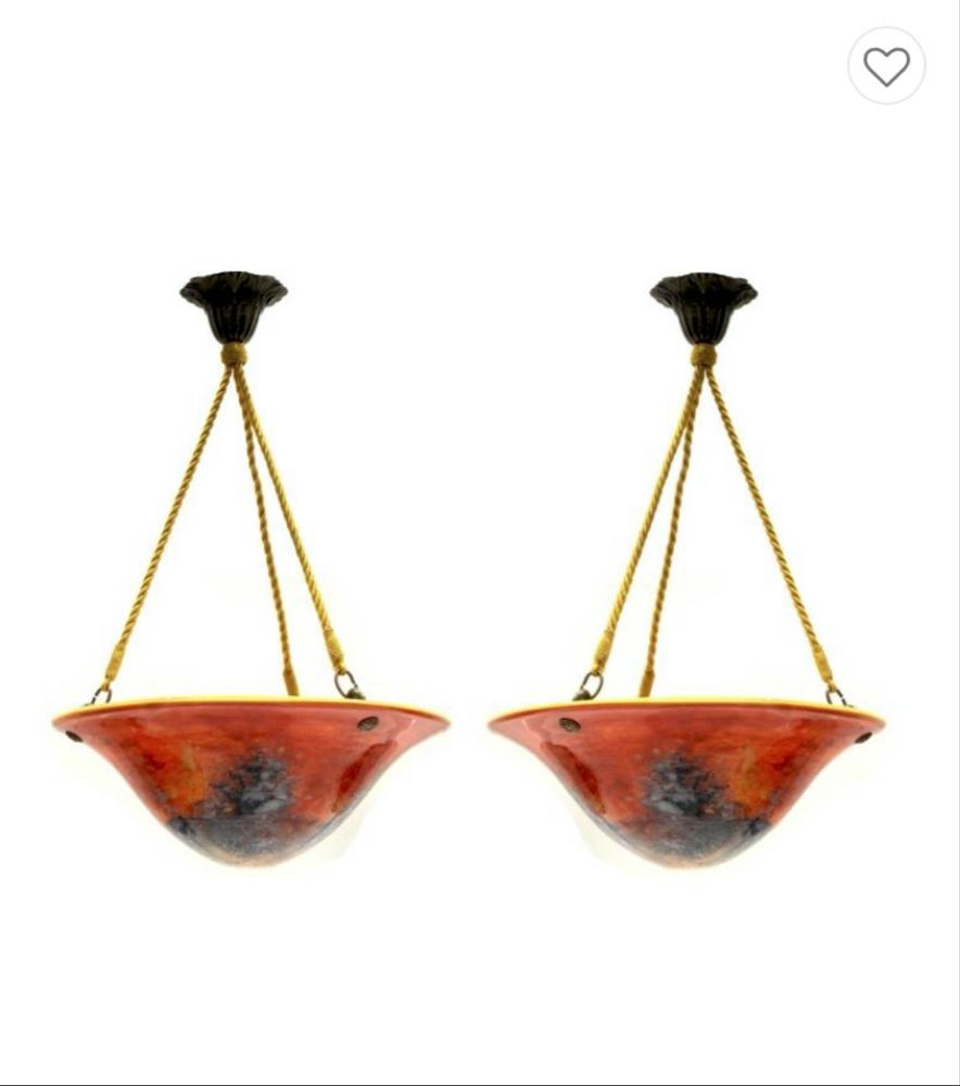 PAIR OF ART-NOUVEAU HANGING CEILING LIGHTSRed-orange glass, yellow interior. Supported by three - Image 2 of 2