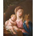 FRANCESCO TREVISANI (1656 - 1746) Madonna reading and sleeping Child Oil on canvas 76 x 69 cm