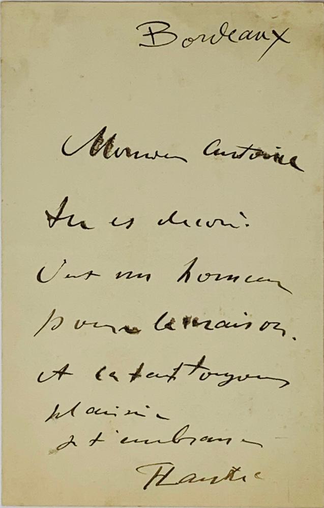 """HENRI DE TOULOUSE-LAUTREC (1864-1901)Autograph letter signed """"TLautrec"""" to Monsieur Antoine."""