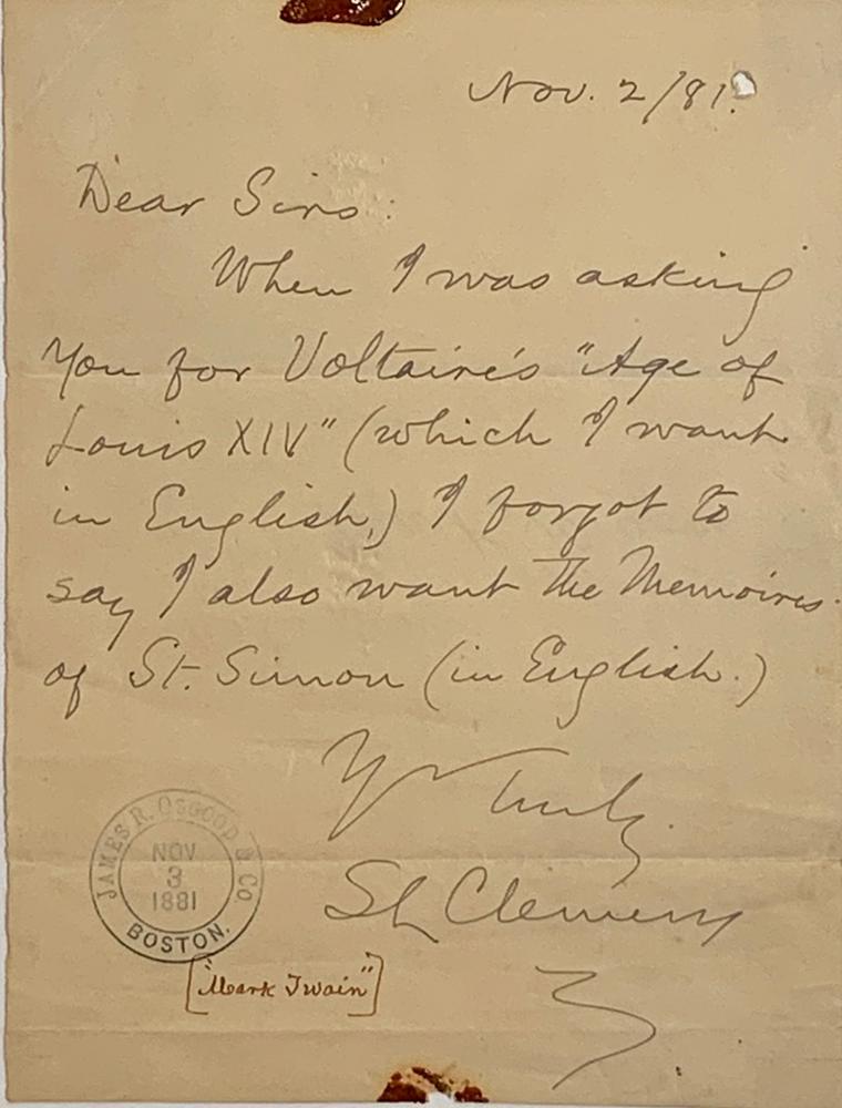 MARK TWAIN (SAMUEL LANGHORNE CLEMENS) (1835-1910)Autograph letter signed to James R. Osgood & Co.