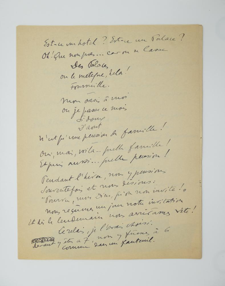 SACHA GUITRY (1885-1957)Autograph poem, in French. 10 pp. folio, erasures and corrections. - Image 2 of 10