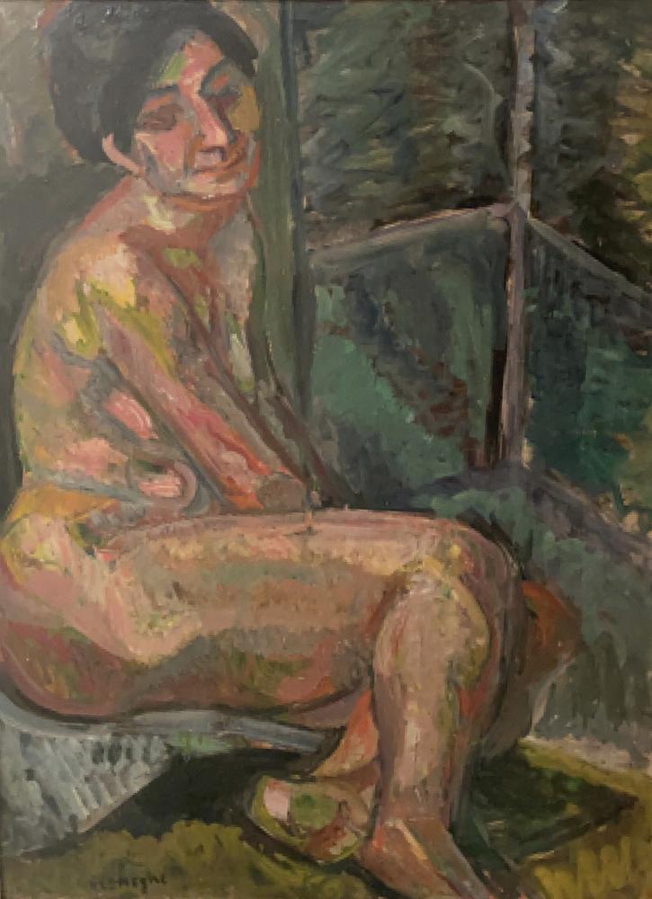 Pinchus Kremegne (1890 - 1981) Seated nudesigned 'Kremegne' (lower left) oil on board 82 x 62 cm