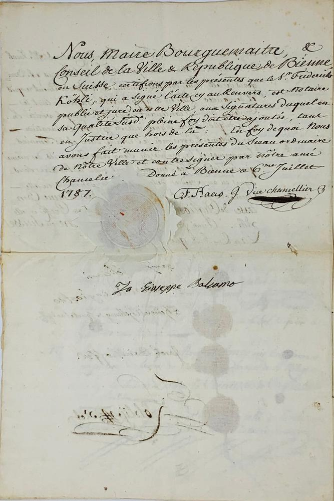 """GIUSEPPE BALSAMO, KNOWN AS ALESSANDRO, COUNT OF CAGLIOSTRO (1743-1795)Parchment signed """"Io - Image 3 of 3"""