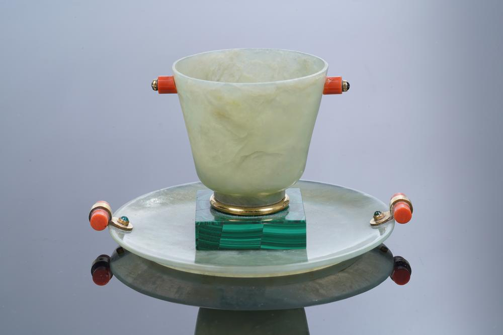 ART DECO ROUND JADE, GOLD, CABOCHON EMERALD AND CORAL SAUCER AND ONE MALACHITE MARQUETRY JADE,