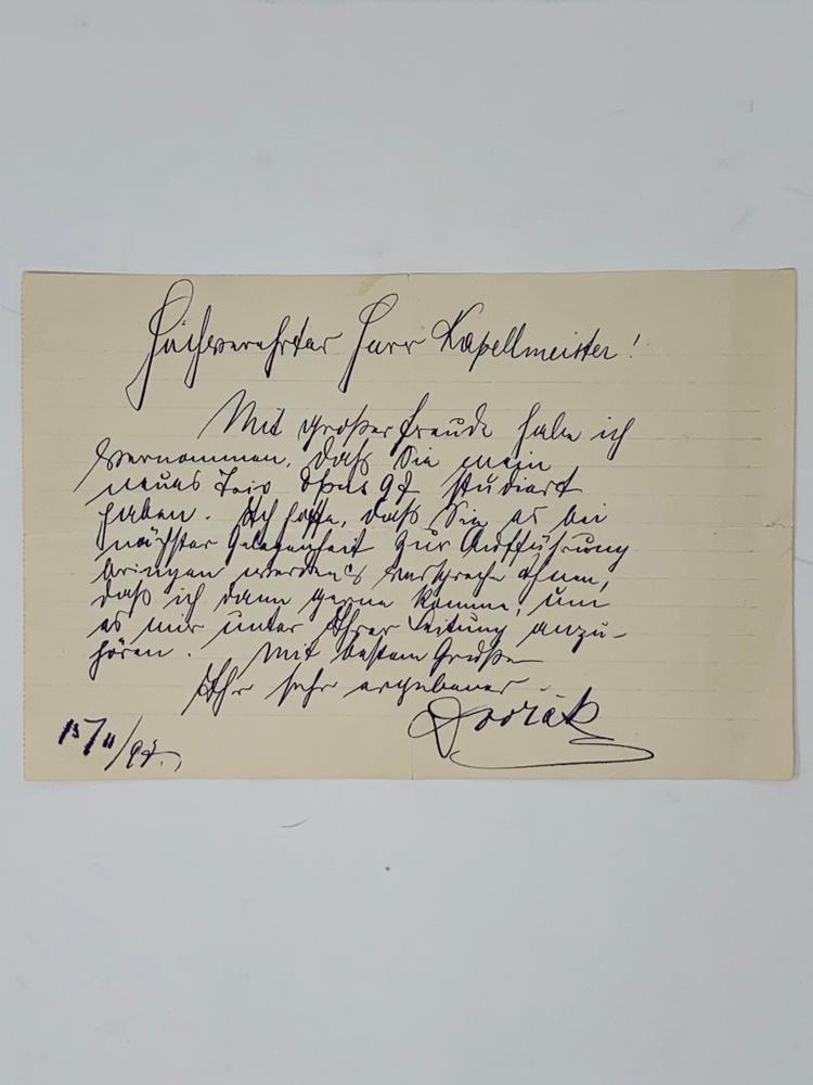 ANTONÍN DVOŘÁK (1841-1904)Signed letter «Dvořák» to a Kapellmeister, in German. 13 November 1897,