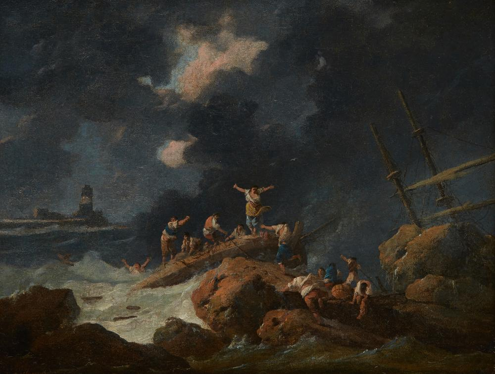 JEAN-BAPTISTE PILLEMENT (1728 - 1808) The ShipwreckIllegibly signed (lower left) Oil canvas 29 x