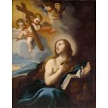 EMILIAN SCHOOL, 17th CENTURY The penitent Magdalene with the Crucifix and Angels Oil on canvas 50