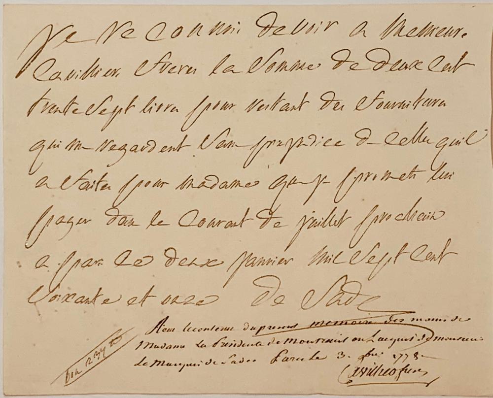 """DONATIEN ALPHONSE FRANÇOIS, MARQUIS DE SADE (1740-1814)Autograph letter signed """"de Sade"""". Paris, 2"""