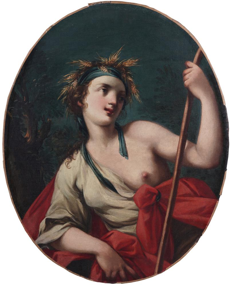 BOLOGNESE SCHOOL, 17th CENTURY Ceres, the Goddess of AgricultureOil on canvas Oval, 92 cm high