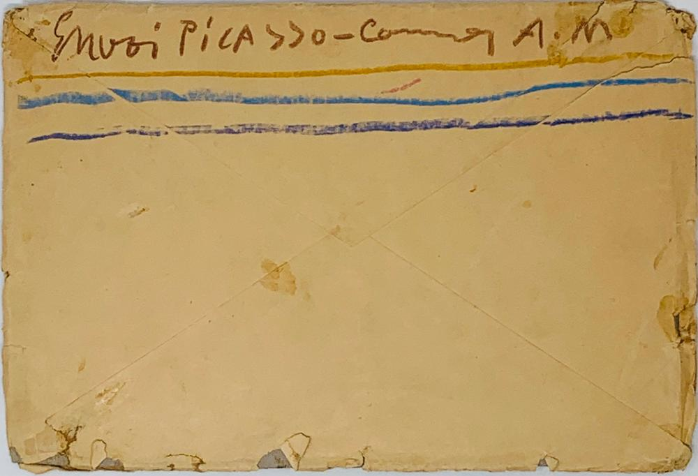 PABLO PICASSO (1881-1973)Autograph envelope to Mrs Inès SASSIER, with note on the back. With - Image 2 of 3