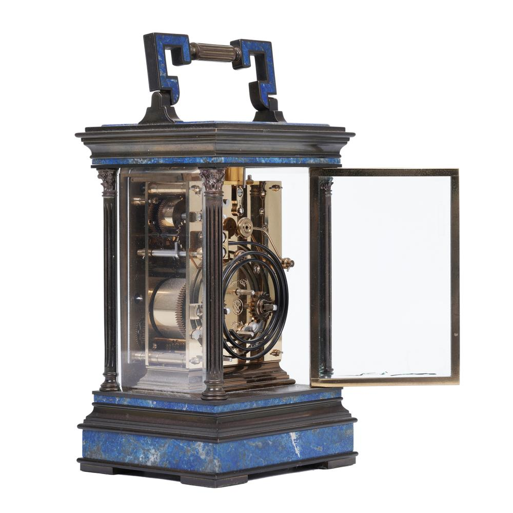 CAGE-SHAPED OFFICER'S CLOCK IN GILDED BRONZE AND LAPIS-LAZULI, LA VALLÉE Switzerland, XX - Image 2 of 2